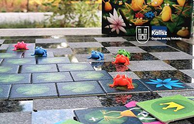 Plansza do gry z żabkami rozłożona na kamiennej szachownicy, w tle roślinność